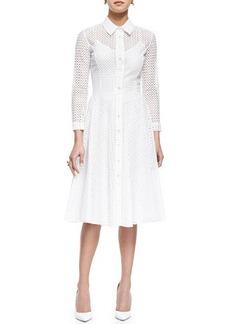 Oscar de la Renta Swiss Allover Eyelet Shirtdress, White