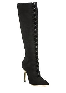 Oscar de la Renta Thorna Bow Cutout Suede Knee Boots