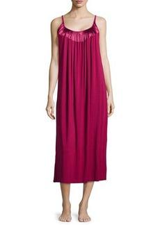 Oscar de la Renta Touch of Charmeuse Sleeveless Nightgown, Pinot
