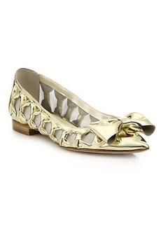 Oscar de la Renta Trina Metallic Leather Bow & Mesh Flats