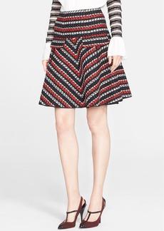 Oscar de la Renta Tweed Stripe Wool & Cotton Skirt