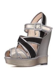 Oscar de la Renta Vacanza Metallic Wedge Sandal  Vacanza Metallic Wedge Sandal