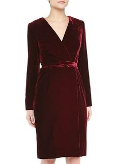 Oscar de la Renta Velvet Belted Wrap Dress