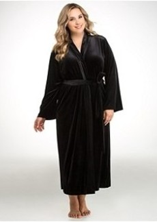 Oscar de la Renta Velvet Knit Robe Plus Size