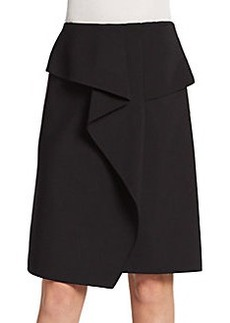 Oscar de la Renta Virgin Wool Draped Skirt