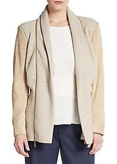 Oscar de la Renta Wool/Cashmere Knit Suede-Sleeve Jacket