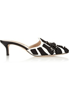 Oscar de la Renta Zebra embroidered canvas pumps