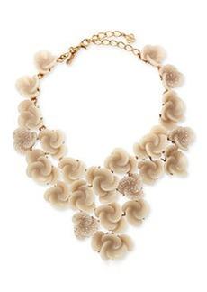 Resin Flower Bib Necklace, Almond   Resin Flower Bib Necklace, Almond