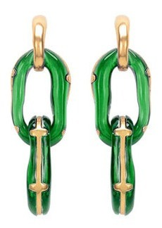 Resin Link Clip-On Earrings, Green   Resin Link Clip-On Earrings, Green
