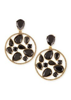 Round Multi-Stone Clip-On Earrings, Black   Round Multi-Stone Clip-On Earrings, Black