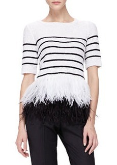 Sequined Feather-Hem Top   Sequined Feather-Hem Top