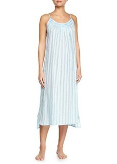 Shadow-Stripe Cotton Gown, Porcelain Blue   Shadow-Stripe Cotton Gown, Porcelain Blue