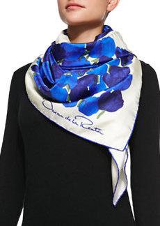 Silk Tulip-Print Scarf, Blue   Silk Tulip-Print Scarf, Blue