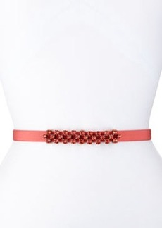 Thin Stone-Grid Silk Faille Belt, Granita   Thin Stone-Grid Silk Faille Belt, Granita