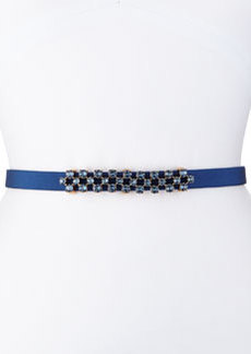 Thin Stone-Grid Silk Faille Belt, Navy   Thin Stone-Grid Silk Faille Belt, Navy