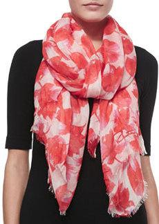 Tulip-Print Modal/Cashmere Scarf, Granita   Tulip-Print Modal/Cashmere Scarf, Granita