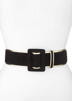 Wide Bicolor Suede Belt, Black/Gold   Wide Bicolor Suede Belt, Black/Gold
