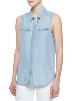 Paige Denim Arianna Sleeveless Denim Shirt, Eiffel