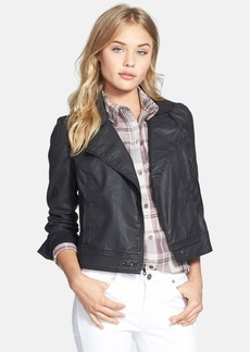 Paige Denim 'Brooklyn' Coated Stretch Cotton Moto Jacket