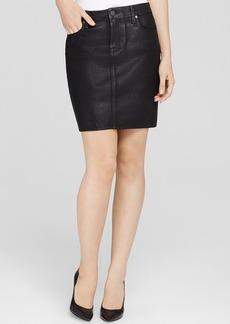 Paige Denim Chantelle Black Coated Skirt in Black Silk