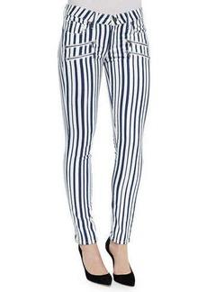 Paige Denim Edgemont Super Skinny Zip-Pocket Jeans, Cyprus Stripe