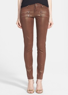 Paige Denim 'Edgemont' Zip Detail Coated Ultra Skinny Jeans (Sienna Silk Coating)