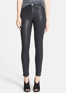 Paige Denim 'Hoxton' Coated High Rise Skinny Stretch Ankle Jeans (Black Silk)