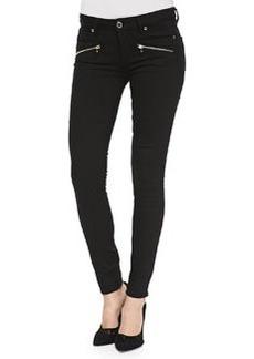 Paige Denim Indio Ultraskinny Zip-Pocket Jeans, Noir