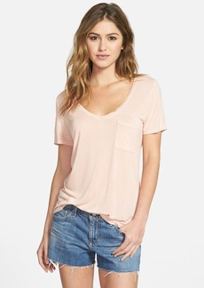 Paige Denim 'Lynnea' Raw Edge V-Neck Tee