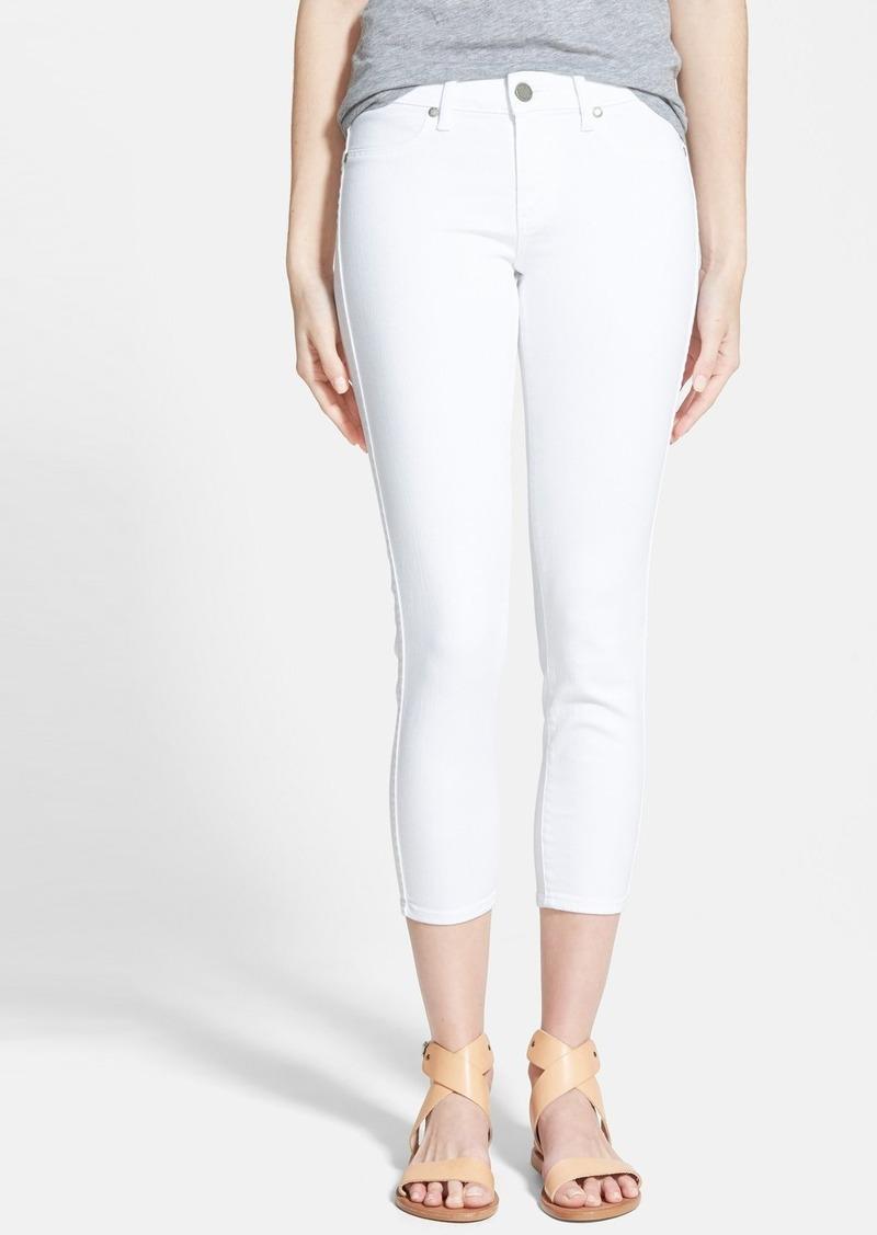 White crop skinny jeans