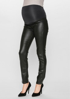 Paige Denim 'Verdugo' Ultra Skinny Maternity Jeans (Black Coated)