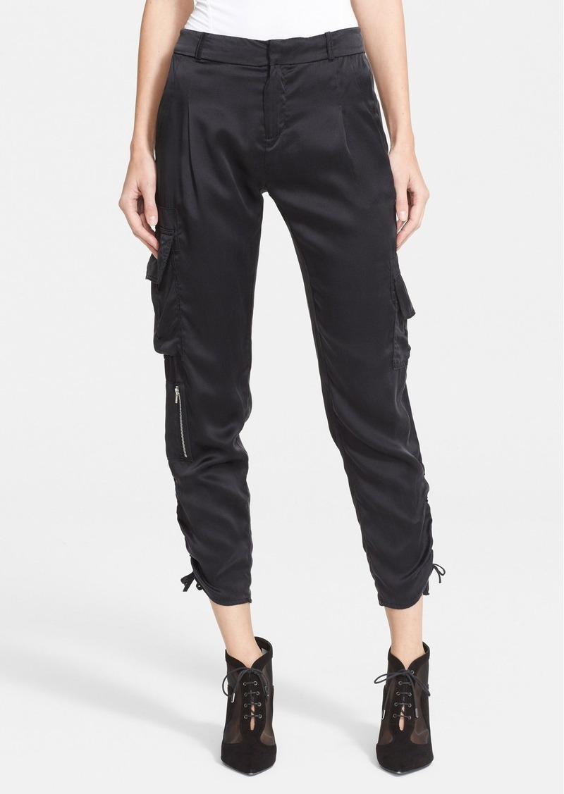 More Details Go Silk Belted Silk Cargo Pants, Plus Size Details Go Silk silk cargo pants with gathered ankle. Slash pockets; cargo pockets at thigh. Relaxed, jogger-style fit. Gathered cuffs. Self-belted waist; belt loops. Pull-on style. Silk.