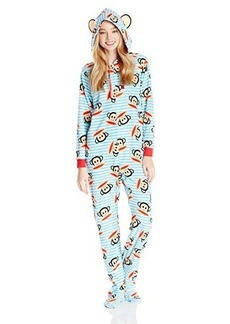 Paul Frank Women's Essentials Stripe Hoodie Footed Coverall