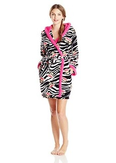 Paul Frank Women's Sweet and Cozy Zebra Julius Print Hoodie Robe