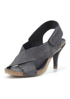 Pedro Garcia Maia Low-Heel Crisscross Suede Sandal, Coal