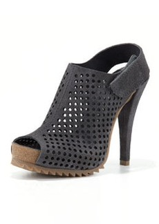 Pedro Garcia Perforated Suede Slingback Bootie, Coal