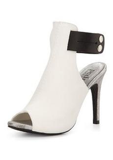 Pedro Garcia Samantha Leather Peep-Toe Sandal, Black/White
