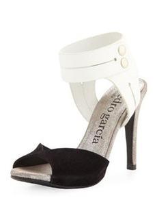 Pedro Garcia Sheryl Peep-Toe Pump, Black/White