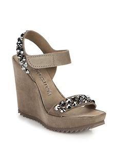Pedro Garcia Studded Suede Wedge Sandals