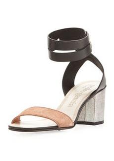 Pedro Garcia Xola Ankle-Strap City Sandal, Black/Adobe/Silver