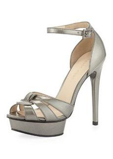 Pelle Moda Avi Patent Leather Peep-Toe Sandal, Slate