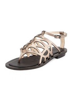 Pelle Moda Bea Metallic Caged Sandal, Pewter