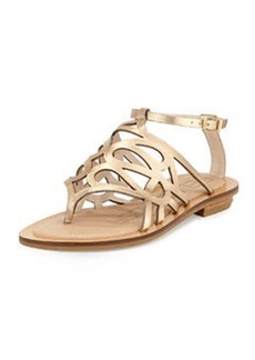 Pelle Moda Bea Metallic Caged Sandal, Platinum Gold