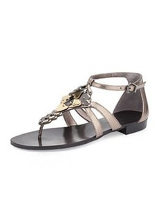 Pelle Moda Boyd Mixed Metal Sandal, Pewter