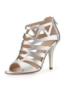 Pelle Moda Elham Metallic Leather High-Heel Pump, Silver