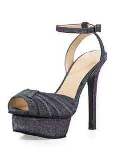 Pelle Moda Ellen 1 Iridescent Shimmer Fabric Platform Sandal, Azure