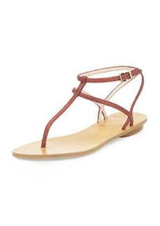 Pelle Moda Ellie 2 Metallic Embossed Thong Sandal, Flamingo