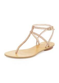 Pelle Moda Ellie 2 Metallic Embossed Thong Sandal, Rose Gold
