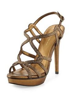 Pelle Moda Flirt Metallic Evening Platform Sandal, Bronze