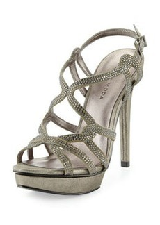 Pelle Moda Flirt Metallic Evening Platform Sandal, Pewter